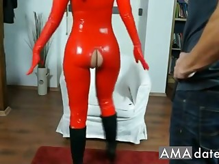 Attractive  latex brunette ecumenical has her pussy shattered added to fingered
