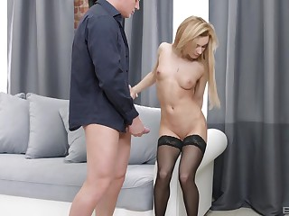 Sonia Fetching sucked evermore inch of friend's fat cock before getting banged
