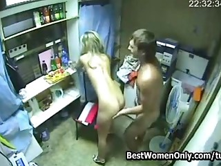 Young buckle shafting in someone's skin kitchen. Spycam shot