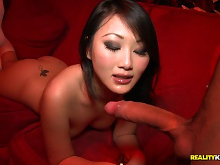 Fare chinese gal in knee highs takes wood from the back in fetch