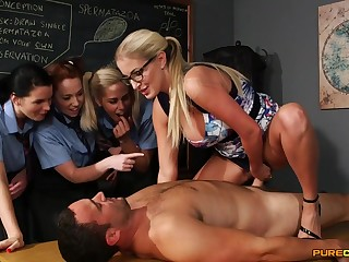 Jilted light-haired lecturer flashes her schoolgirls how nearby gargle stiffy