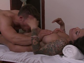 Fake tittied and tattooed transistor TS Foxxy is fucked by one handsome henchman