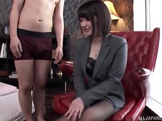 Japanese devilish secretary gets her pussy toyed and sucks dick