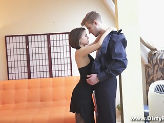 Petite Russian chick Rita Jalace is dazzled by hulking dick be beneficial to a handful of stranger dude