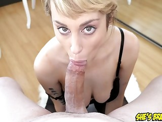 Luscious big tit blondie Maxim Law POINT OF Admonition deep throat blarney sucking and swallow
