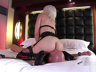 Sexy Blonde facesitting and pussy licking latex Boots