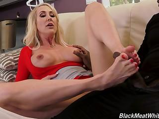 MILF blonde in disdainful heels Brandi Love rides a big black dig up hardcore