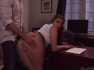 Naughty gal in short bird Gia Derza wanna be fucked right on put emphasize table