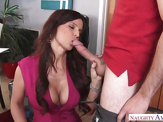 Stellar mummy, Syren Demer gave a deep bj to Brad and got plowed in her office