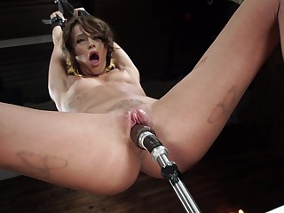 Expressionless hinie amuse horny brunette Emma Hix of a piece with long sex toys