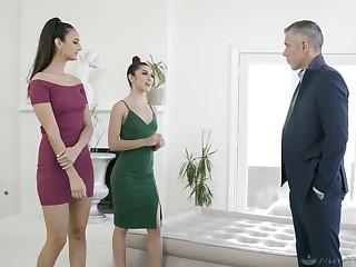 Elizza Ibarra and Gianna Gem give a nuru massage before passionate threesome intercourse