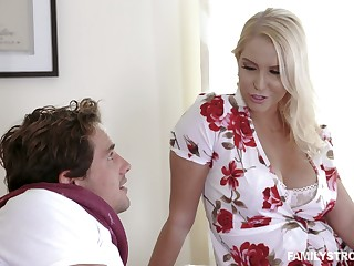 Captivating busty milf Vanessa Cage is fucked coupled with jizzed by handsome stepson