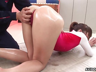 Gymnast gets oiled up with the addition of does sexy back bends