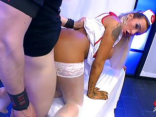 Nasty nurse pretty load of shit with the addition of cumshots in a group scene