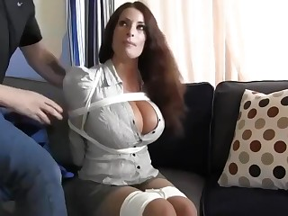 Buxomy housewife gets immensely crazy when she gets corded up plus left on the floor