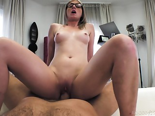 Chuck amateur in sexy glasses, naughty bedroom anal