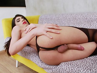 Tranny reveals himself in scenes of naughty masturbation