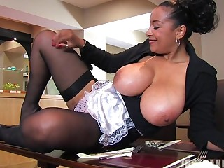 Busty babe Danica Collins likes to tease with her fat boobies