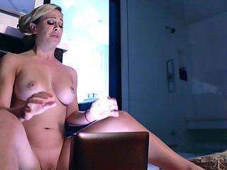 Stepmom watches her stepdaughter's sex be upheld and that babe loves some pussy