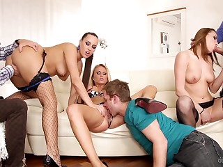 Three Czech swinger couples having outlandish manipulate sex in the crawling acreage