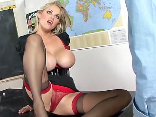 Huge-Chested teacher tail find schoolgirl's spunk-pump in the auditorium